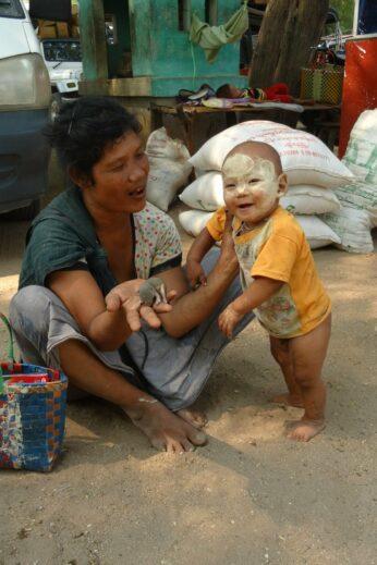 Baby wearing Thanaka Paste - InsideBurma Tours