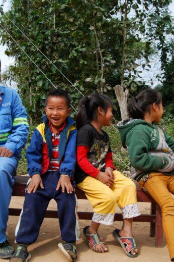 Locals Laughing in Laos