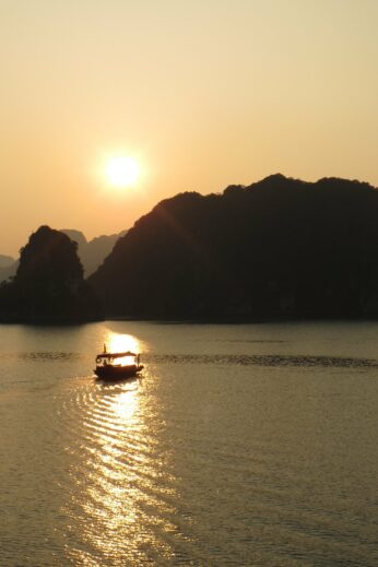 Golden sunset over Halong Bay