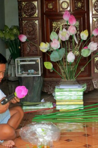Paper flower making, Vietnam