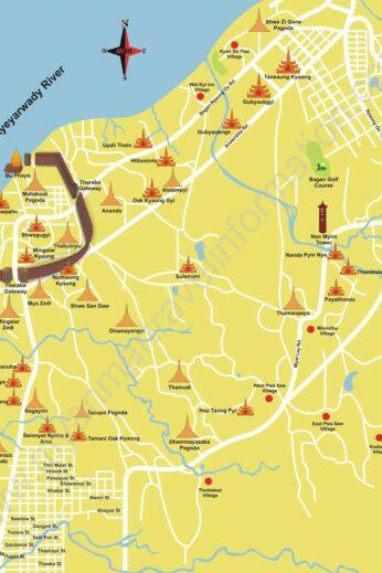 Map of Bagan - insidevietnam Tours