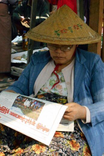 Reading the Newspaper - InsideBurma Tours