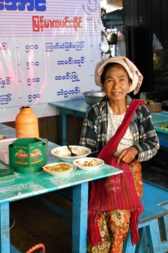 Burmese Lady at Lunch - InsideBurma Tours