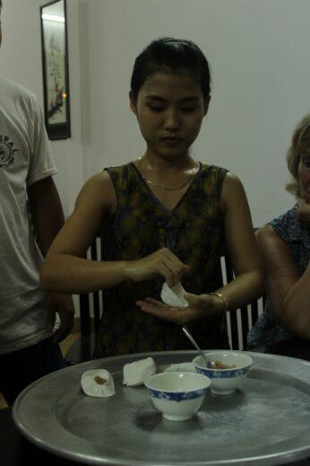 "Watching a demonstration of ""white rose"" dumplings at bar #2"