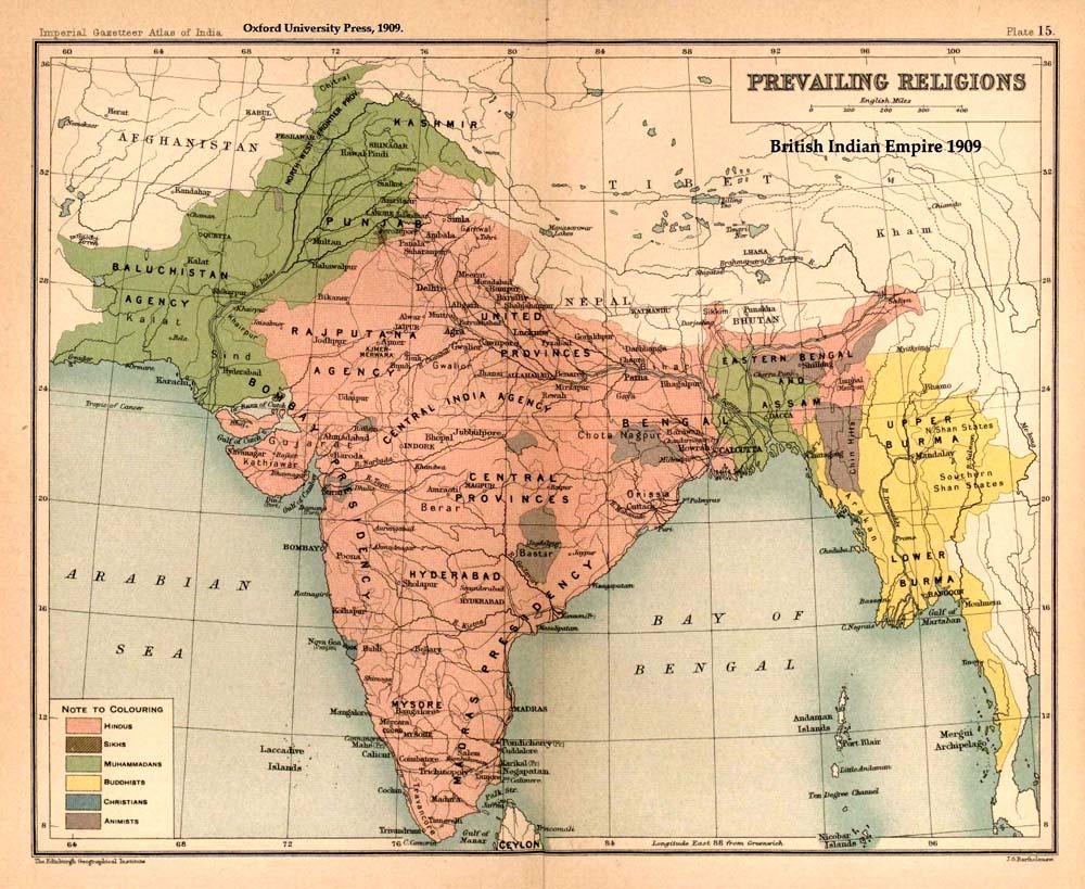 Map of the British Raj in 1909
