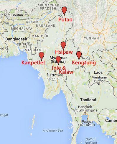 Map of Burma's hiking spots