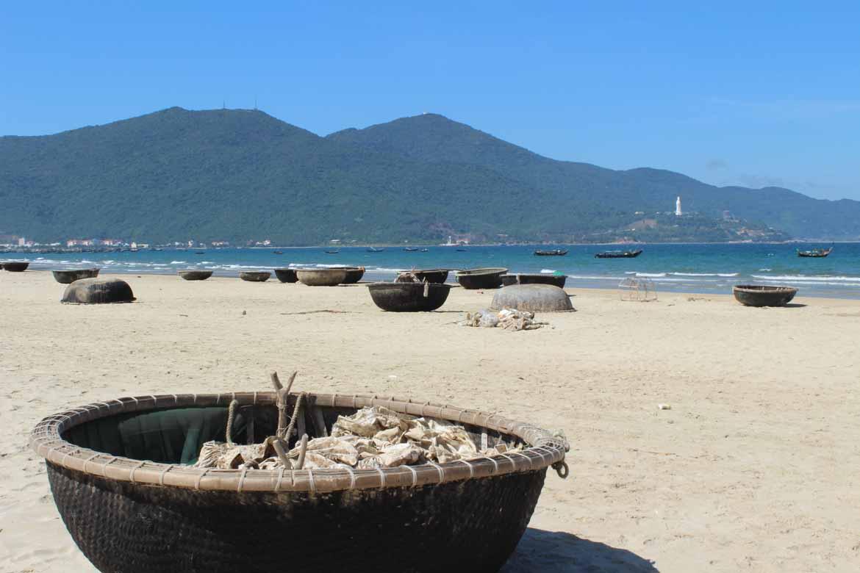 Basket boats on Danang Beach
