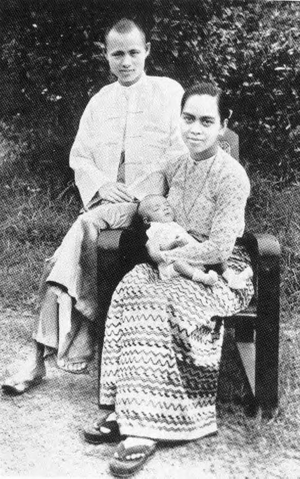 Aung San met his wife, Khin Kyi, while serving as War Minister. They had four children - two of whom died in childhood. Aung San Suu Kyi is their youngest surviving child; her older brother is an engineer in the United States and does not support her politics.
