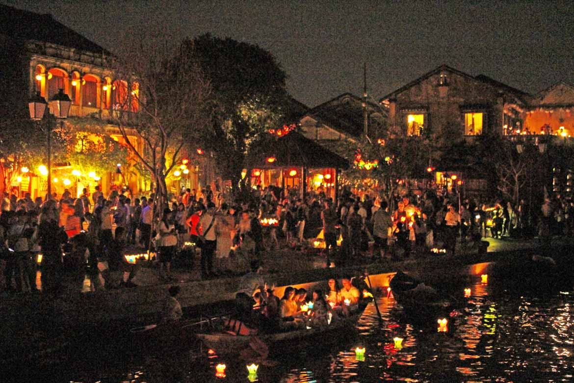 The streets of Hoi An are packed with people on festival day