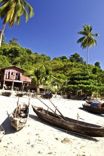 Small village and palm trees on the Myeik Archipelago, Burma (Myanmar)