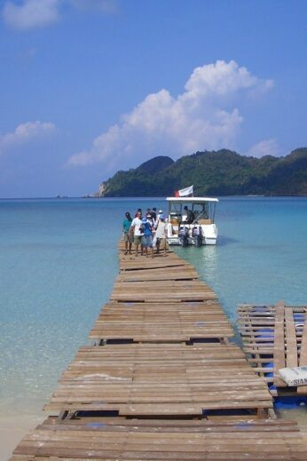 Wooden jetty into the sea on the Myeik Archipelago, Burma (Myanmar)
