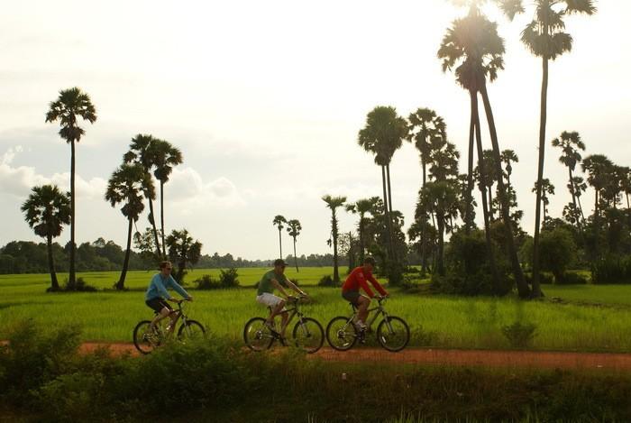 Cycling on islands near Phnom Penh Cambodia