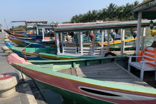 Hoi An, Vietnam port with boats