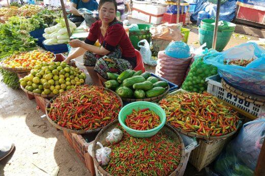 Food in Laos, market