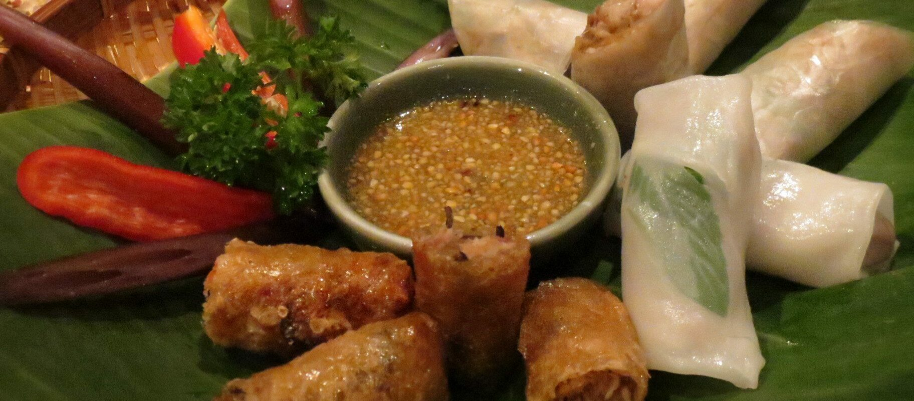 Second starter: fried and fresh spring rolls