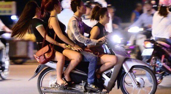 Cruising at night on a motorbike