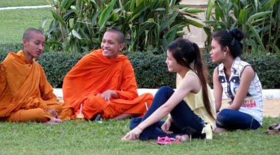 Monks with friends