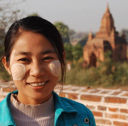 Girl wearing thanaka paste