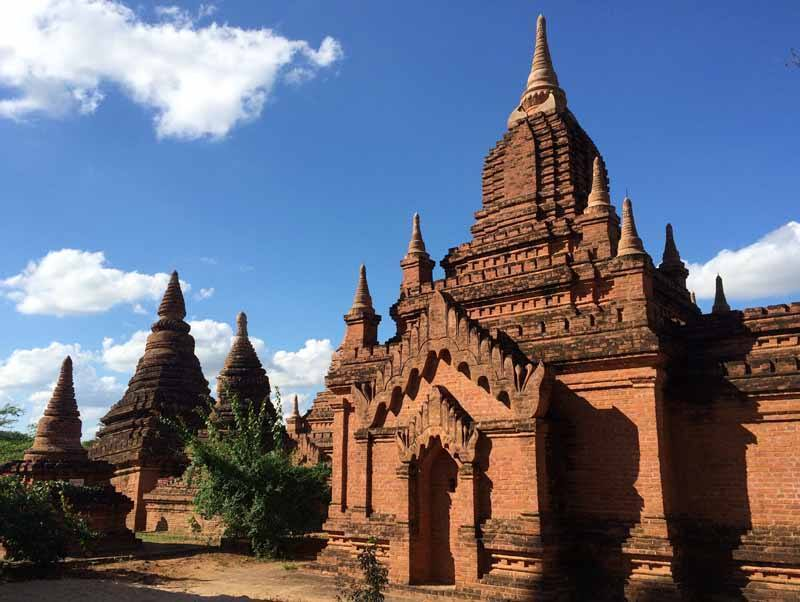 The famous red brick temples of Bagan -