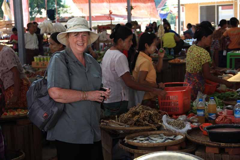 Lesley at the market in Bagan