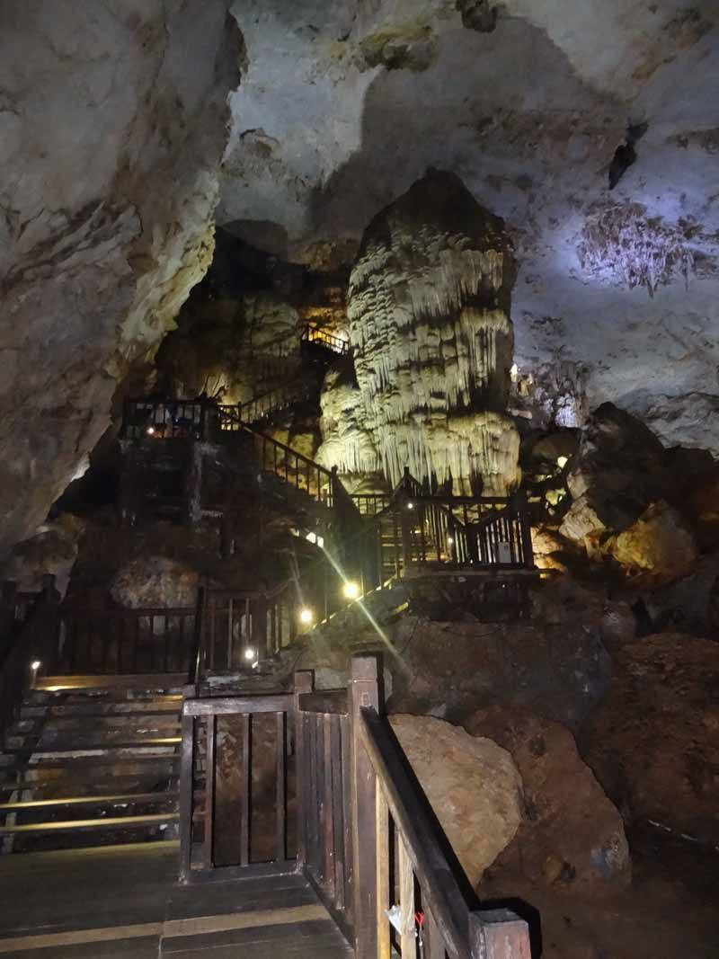 Wooden walkways in Paradise Cave