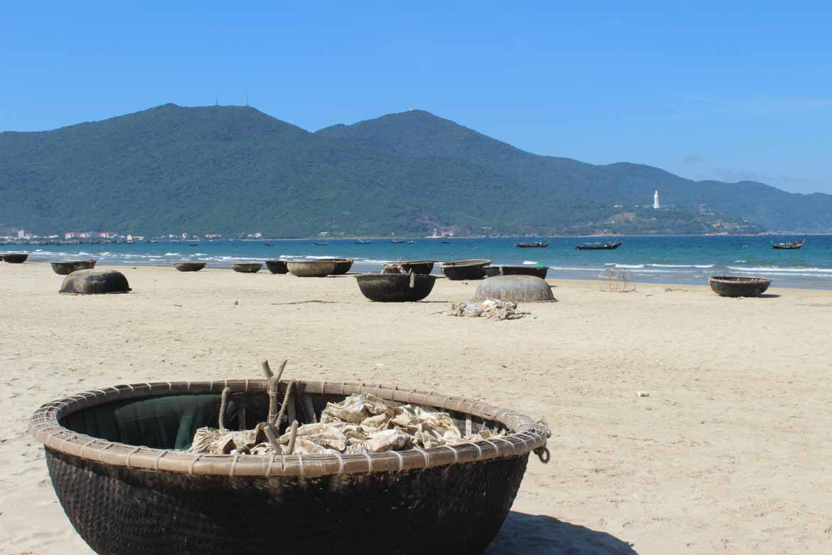 Basket boats on Danang Beach