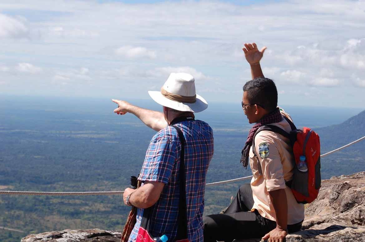 Andy with our lovely guide Bunthan – the fount of all knowledge and a firm friend by the end of our week with him.