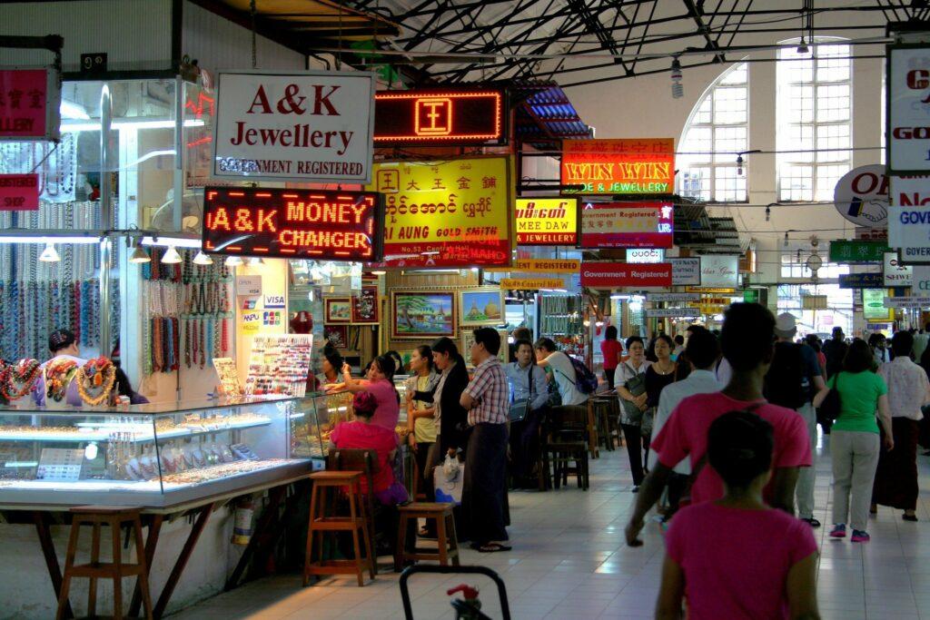Bogyoke Market in Yangon, Burma (Myanmar)