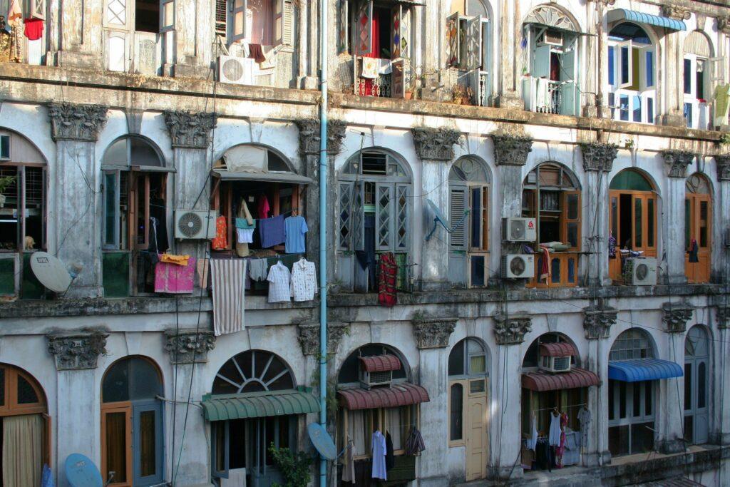 Colonial-style houses in Yangon, Burma (Myanmar)