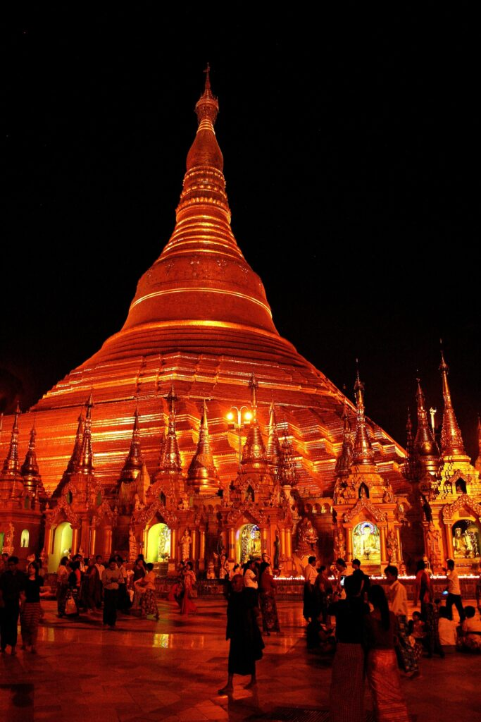 Night time scene at Shwedagon Pagoda in Yangon, Burma (Myanmar)