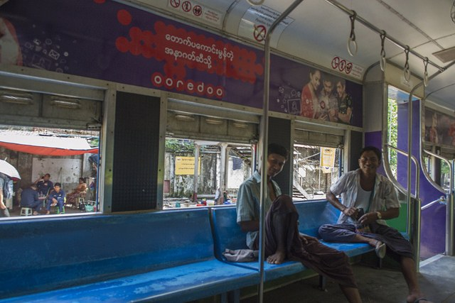 Inside Yangon's circle train, Burma (Myanmar)