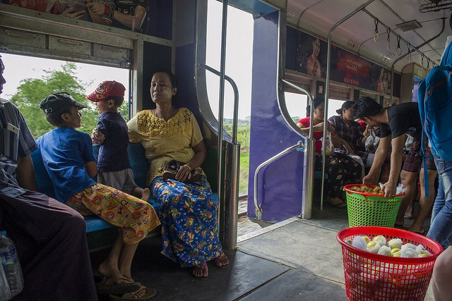 Local people inside Yangon's circle train, Burma (Myanmar)
