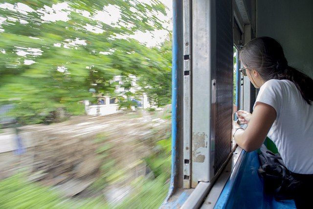 Looking out from Yangon's circle train, Burma (Myanmar)