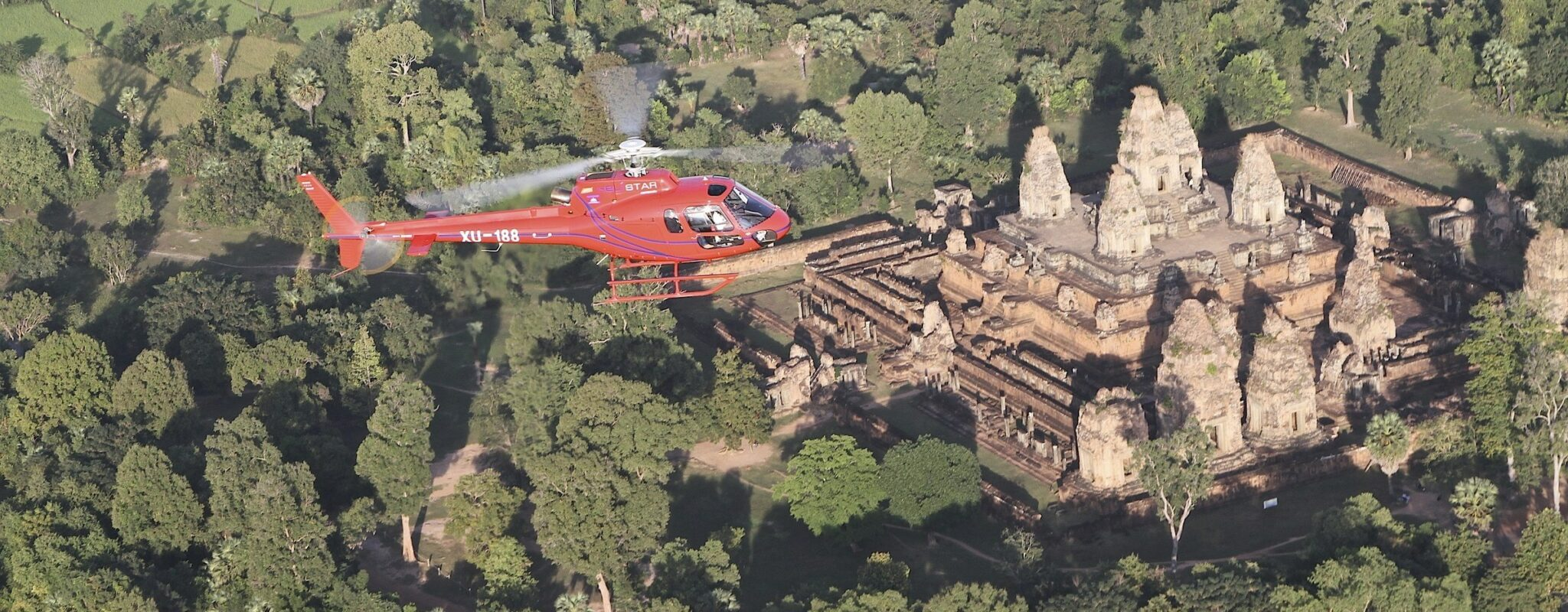 Helicopter over Angkor, Cambodia