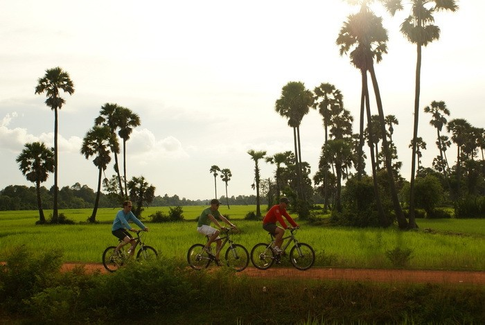 Cycling on islands near Phnom Penh Cambodia