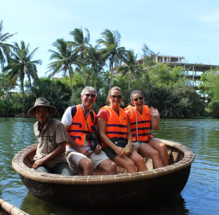 Vietnam basket boats on a Small Group Tour