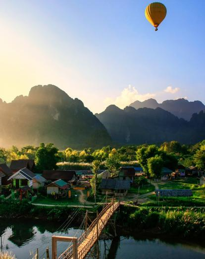 Hot air balloon over Vang Vieng