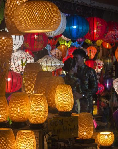 Romantic couple with Hoi An lanterns