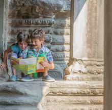 Children doing Angkor Thom Scavenger Hunt