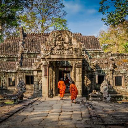 Orange robed monks at Angkor Wat Temple