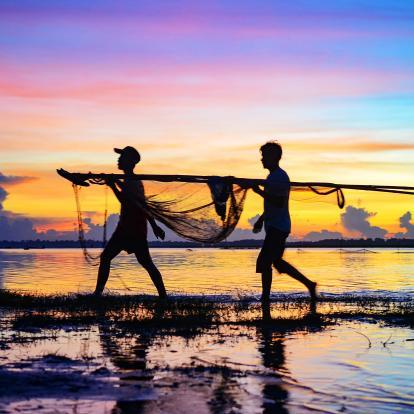 Carrying in the fishing nets at sunset