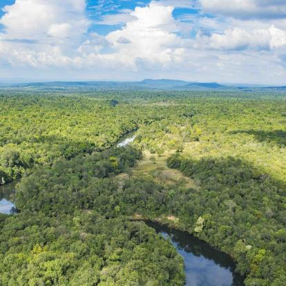 Aerial view of Botum Sakor Cardamom Tented Camp