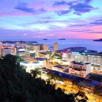 Kota Kinabalu cityscape at sunset
