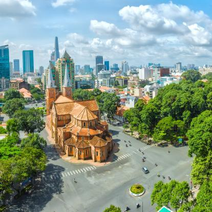 Aerial view of Ho Chi Minh City cathedral