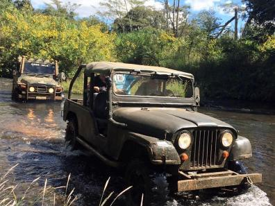 Driving a jeep in Bolaven Plateau