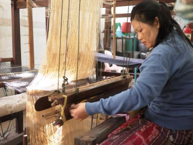Weaving demonstration at Carol Cassidy's workshop in Vientiane