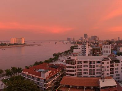 Sunset over the Mekong and Phnom Penh