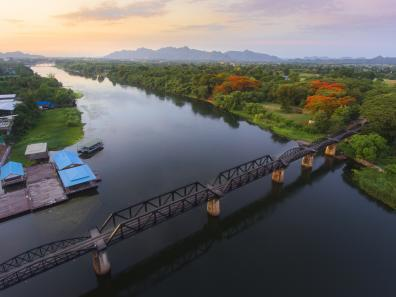 Aerial view of the bridge over the River Kwai
