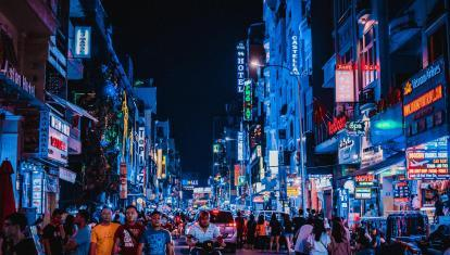 Night time street scene in Ho Chi Minh City
