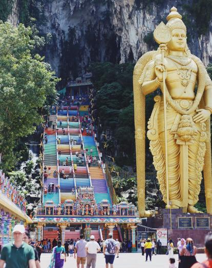 Colourful steps leading up to the Batu Caves, Malaysia
